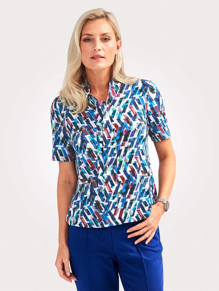 MONA Shirt met grafisch patroon, Blauw/Paars/Ecru