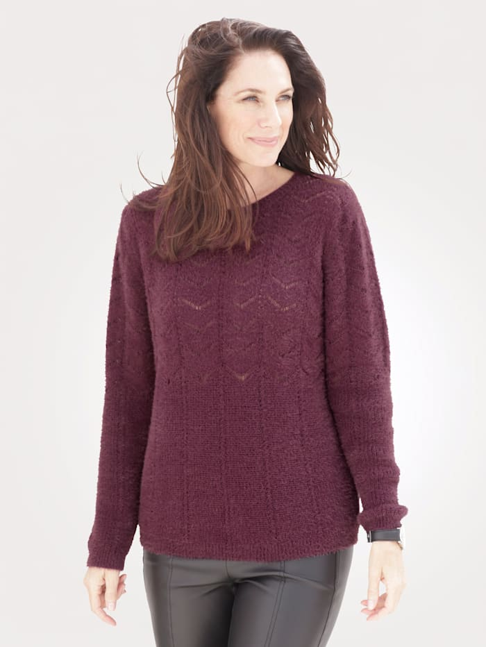 MONA Jumper in an ajour knit, Berry