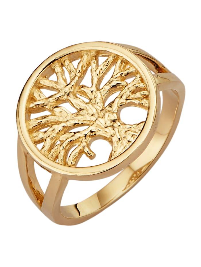 Diemer Highlights Lebensbaum-Ring in Gelbgold 585, Gelbgoldfarben