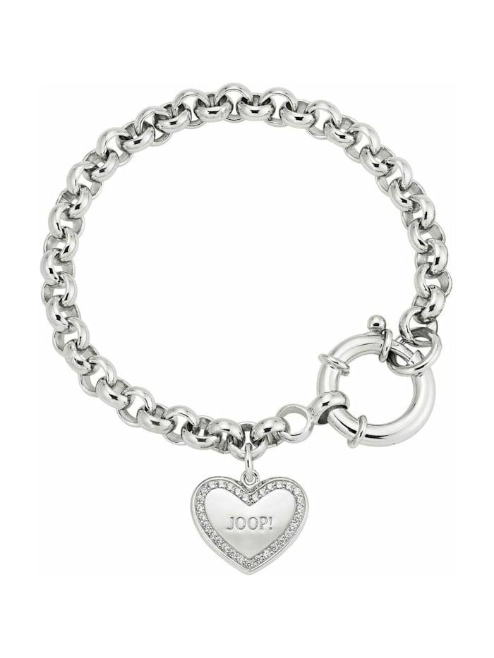 JOOP! Armband 17+3 cm lange Damen Armkette von JOOP! mit Herz-Anhänger, Silber 925, Zirkonia, Silber