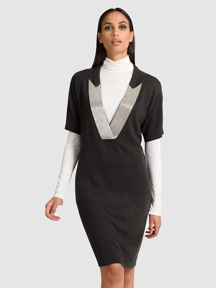 Alba Moda Stickad klänning i elegant modell, Antracitgrå