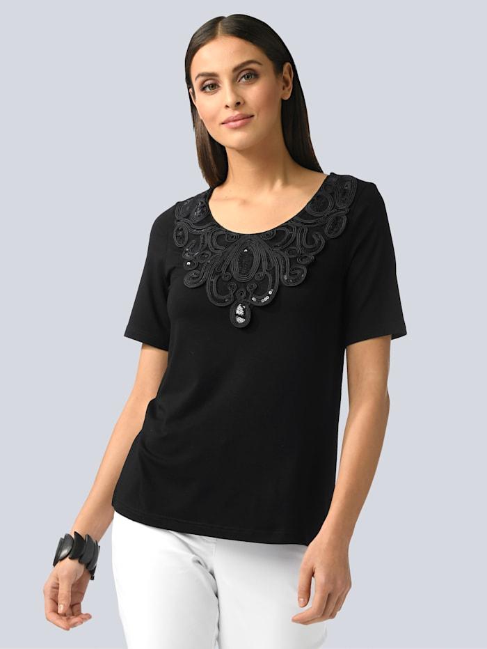 Alba Moda Shirt mit aufweniger Verzierung am Ausschnitt, Schwarz
