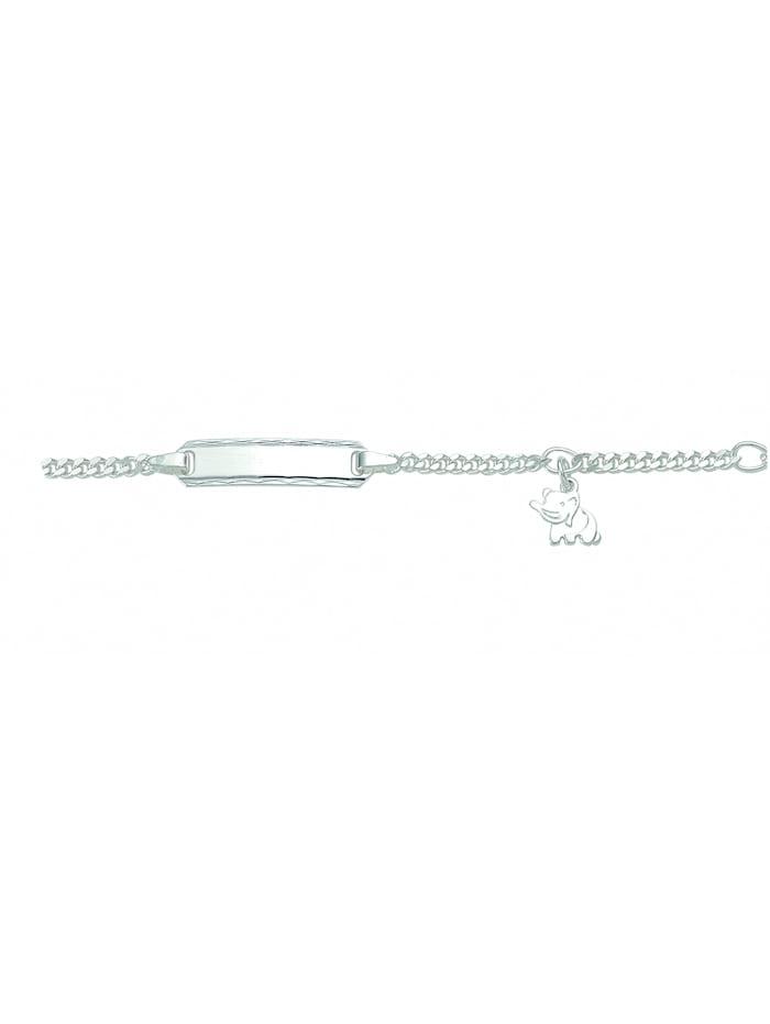 1001 Diamonds Damen Silberschmuck 925 Silber Flach Panzer Armband Mit Motiven 14 cm Ø 2 mm, silber