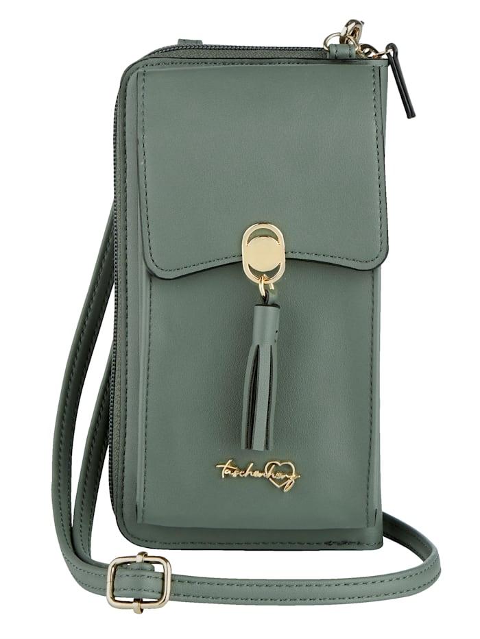 Taschenherz Phone bag with a built-in purse, Sage Green