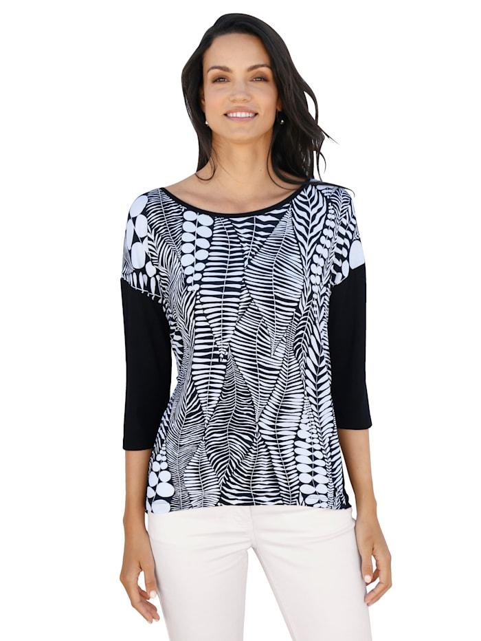 AMY VERMONT Shirt mit grafischem Muster, Schwarz/Weiß