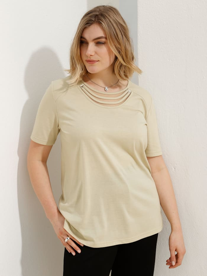 m. collection Shirt mit aufwändiger Detailverarbeitung am Ausschnitt, Beige