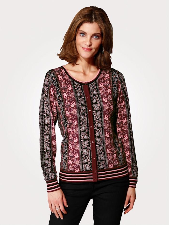 MONA Vest met bloemendessin, Zwart/Berry/Roze