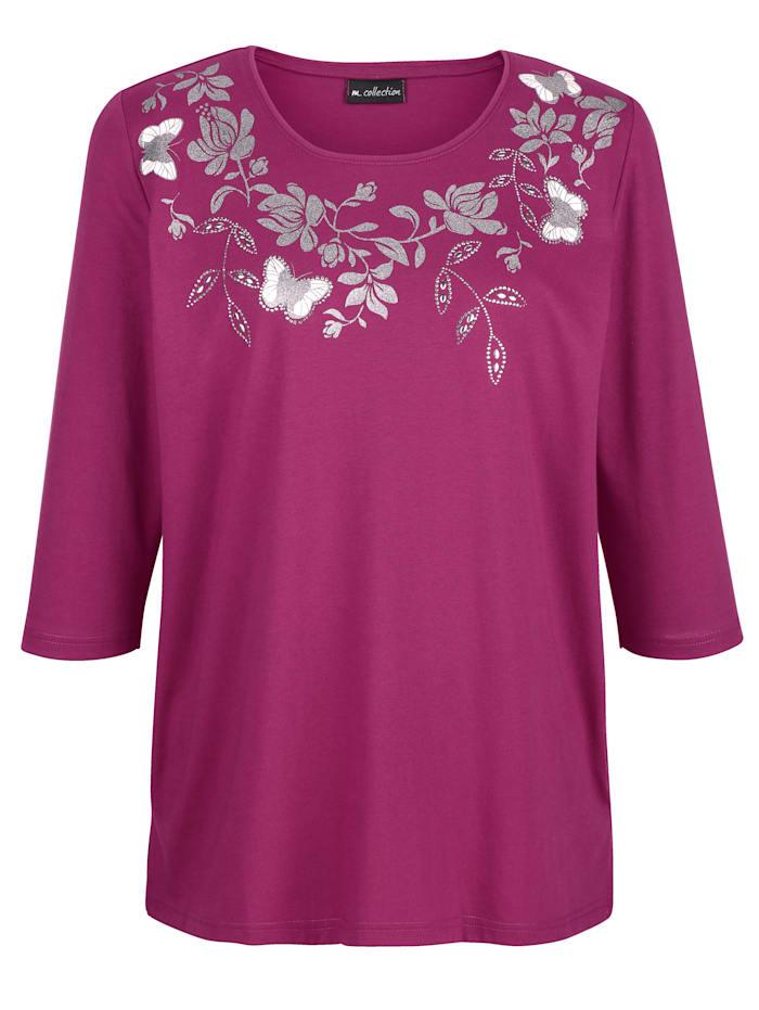 Shirt met glitterprint langs de hals