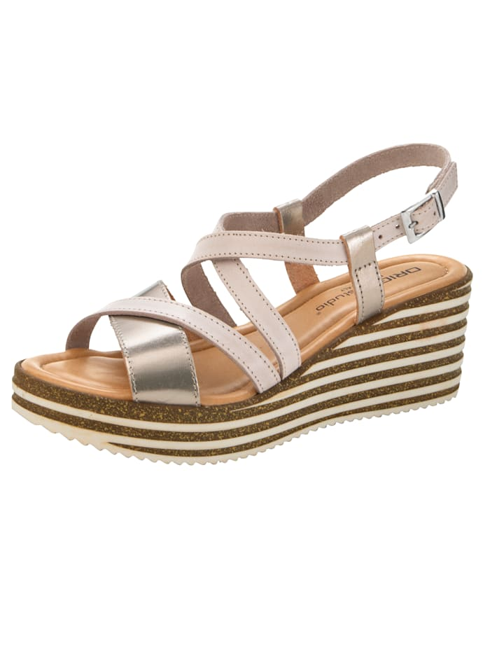 Wedge sandals with chic strap detailing, Nude/Gold-Coloured