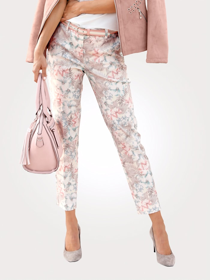 MONA Trousers with a floral print, Off White/Rosé/Taupe