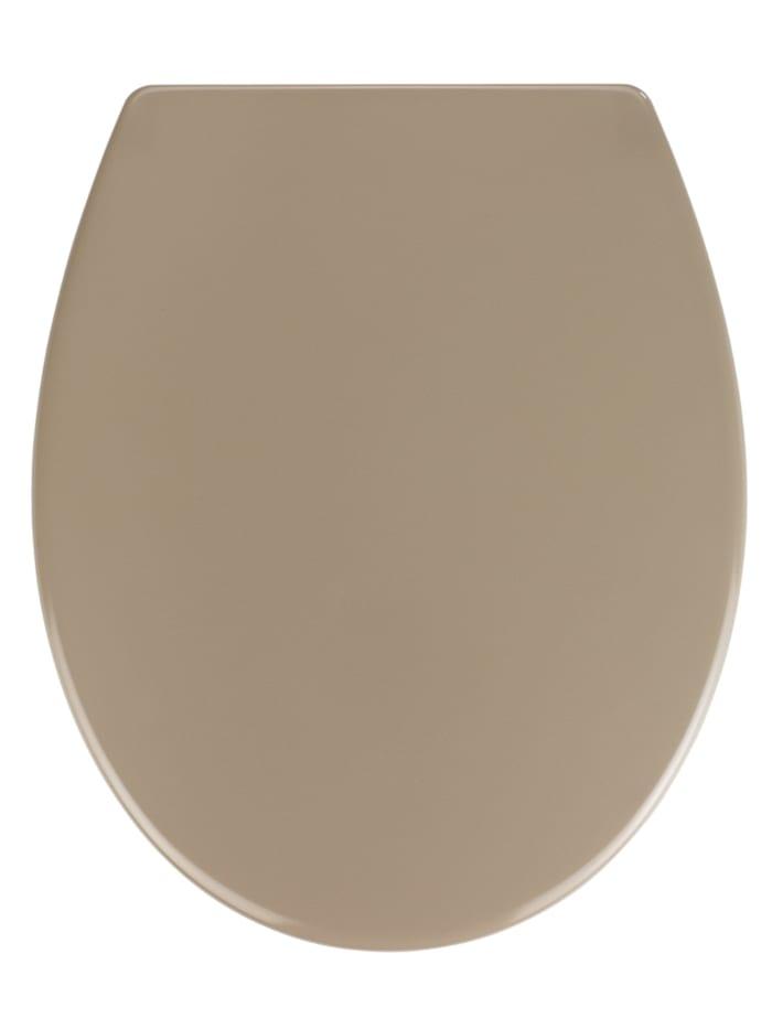 Wenko Premium WC-Sitz Samos Taupe, aus antibakteriellem mit Absenkautomatik, Grau - Taupe, Befestigung: Silber matt