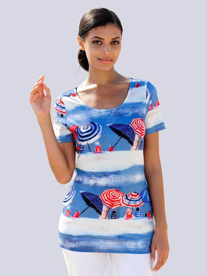 Alba Moda Strandshirt mit sommerlichem Druck, Blau-Bunt