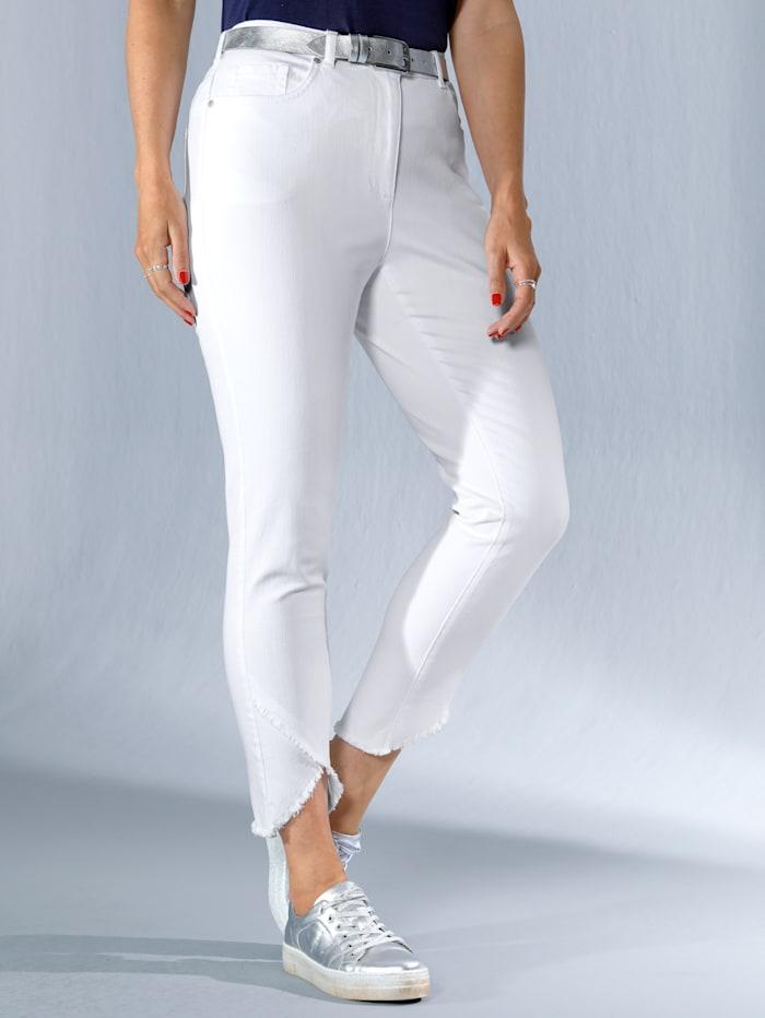 MIAMODA Jeans mit asymmetrischem Fransenabschluss, Weiß