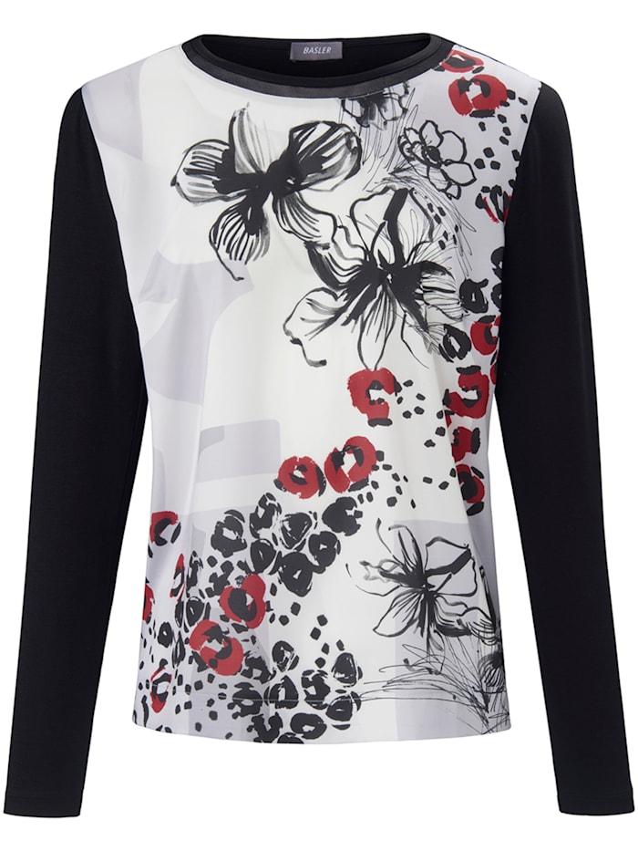Basler Langarmshirt mit Blumen- und Leo-Print, black multicolour
