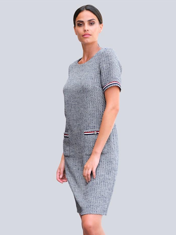 Alba Moda Kleid in schöner Boucléqualität, Marineblau/Off-white/Rot