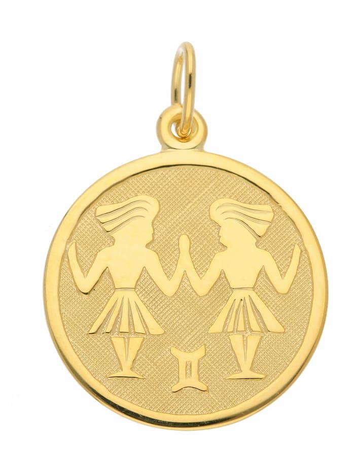 1001 Diamonds 1001 Diamonds Damen & Herren Goldschmuck 333 Gold Sternzeichen Anhänger Zwilling Ø 16 mm, gold