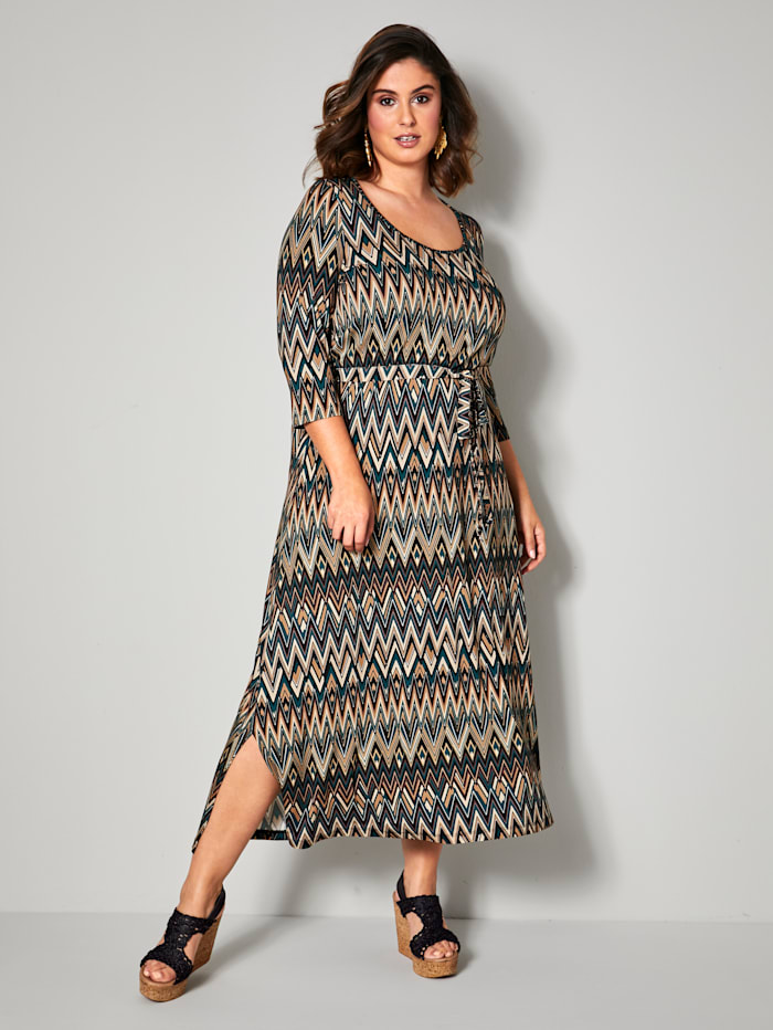 Sara Lindholm Maxi-jurk met dwarselastische taillenaad, Zwart/Groen/Zand