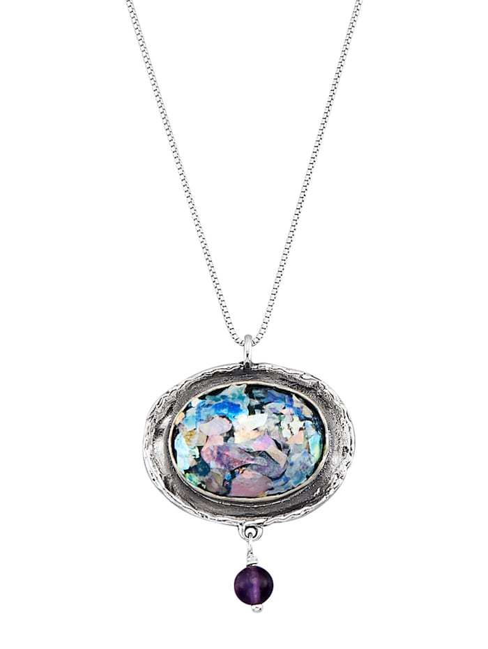 Roman Glass Pendentif + chaîne en argent 925, Lilas