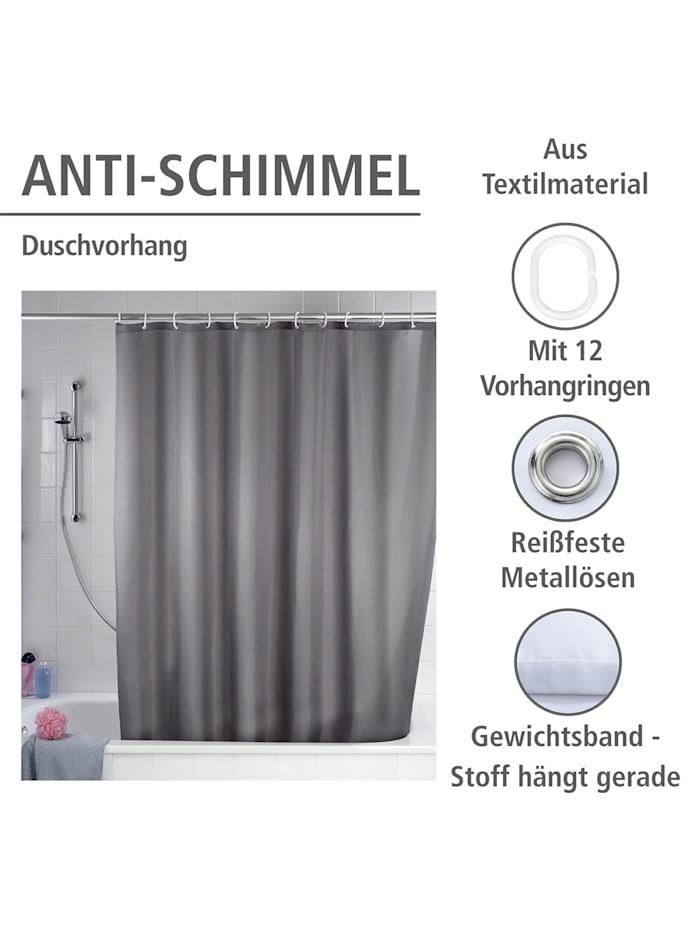Anti-Schimmel Duschvorhang Uni Grey, Textil (Polyester), 180 x 200 cm, waschbar