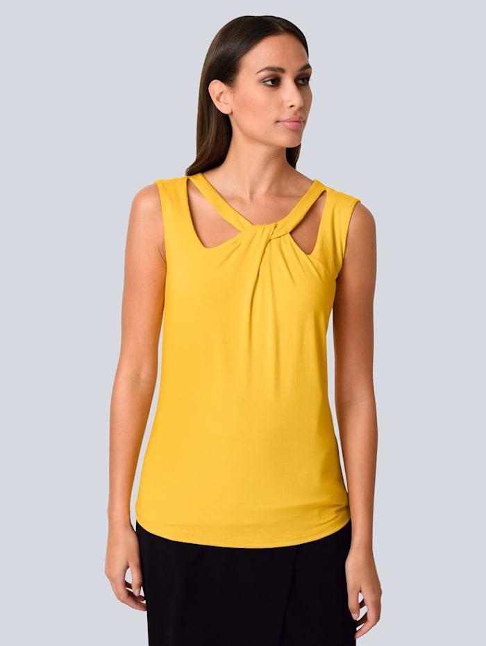 Alba Moda Top mit modischer Aussschnittlösung, Gelb