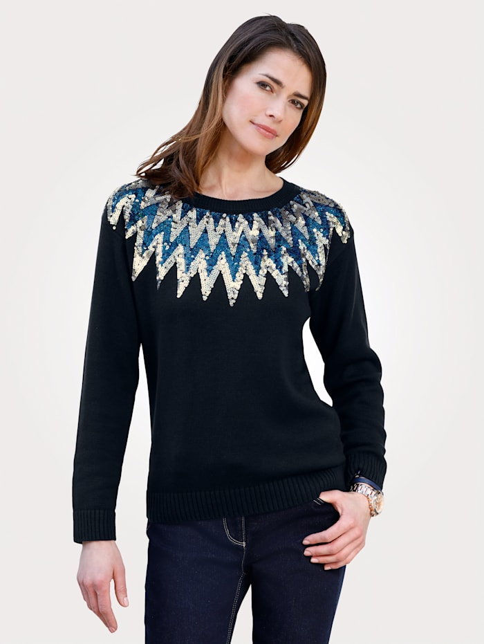 MONA Jumper with zig-zag pattern, Navy/Blue/Silver-Coloured