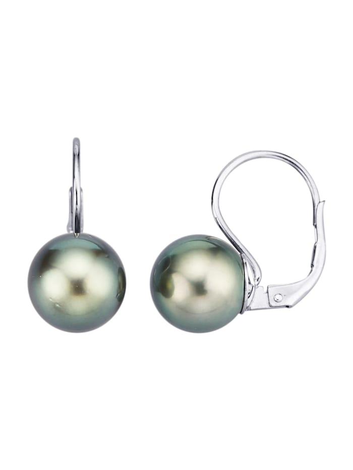 Diemer Perle Oorstekers van 14 kt. witgoud, Grijs