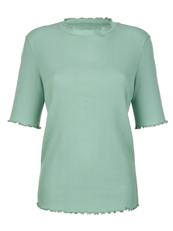 Dress In Shirt mit Wellenkante, Salbeigrün