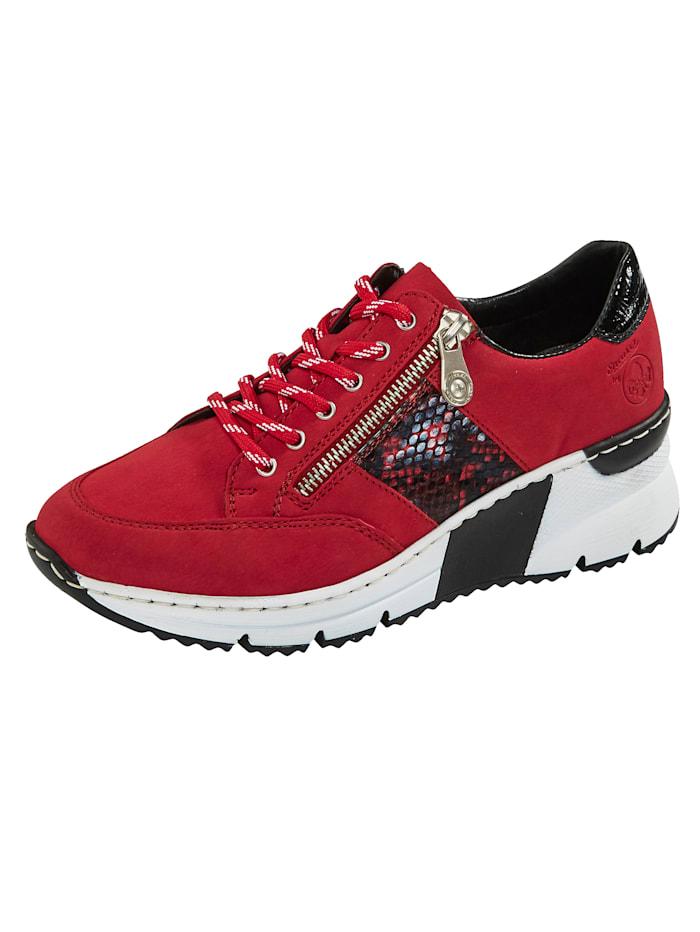 Rieker Sneakers d'aspect cuir nubuck, Rouge/Noir