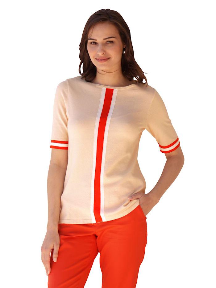 AMY VERMONT Pullover mit Halbarm, Beige/Orange/Schwarz