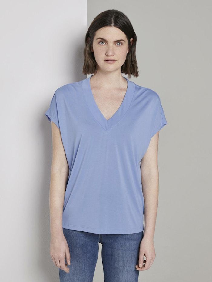 Tom Tailor T-Shirt mit V-Ausschnitt, Parisienne Blue