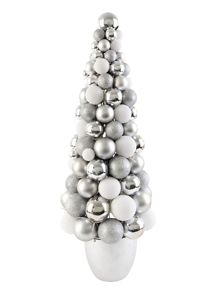 IMPRESSIONEN living LED-Kugelbaum, silberfarben, weiß