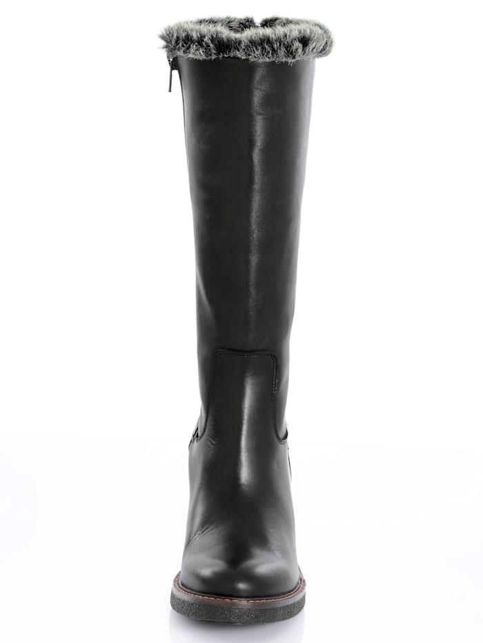 Stiefel mit Kunstfell am Schaftrand