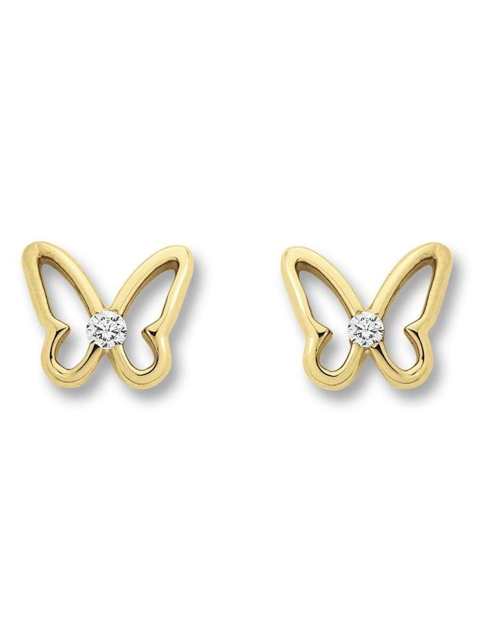 One Element Damen Schmuck Ohrringe / Ohrstecker Schmetterling aus 333 Gelbgold Zirkonia, gold