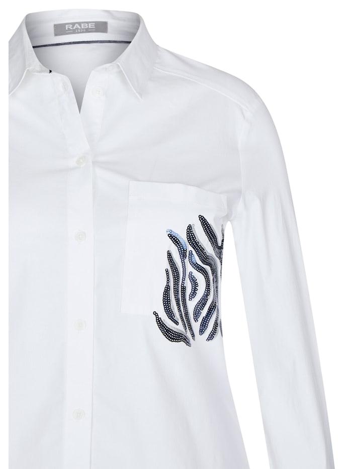 Bluse mit unifarbenem Stoff und Pailletten