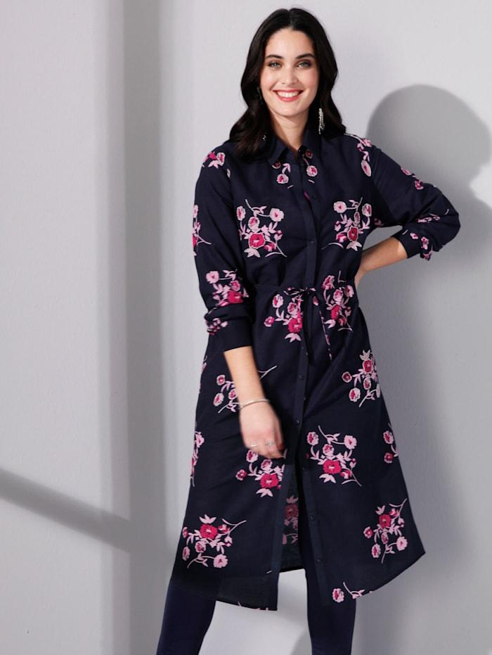 MIAMODA Blouse Met bloemenprint en kraaltjesversiering, Marine/Pink