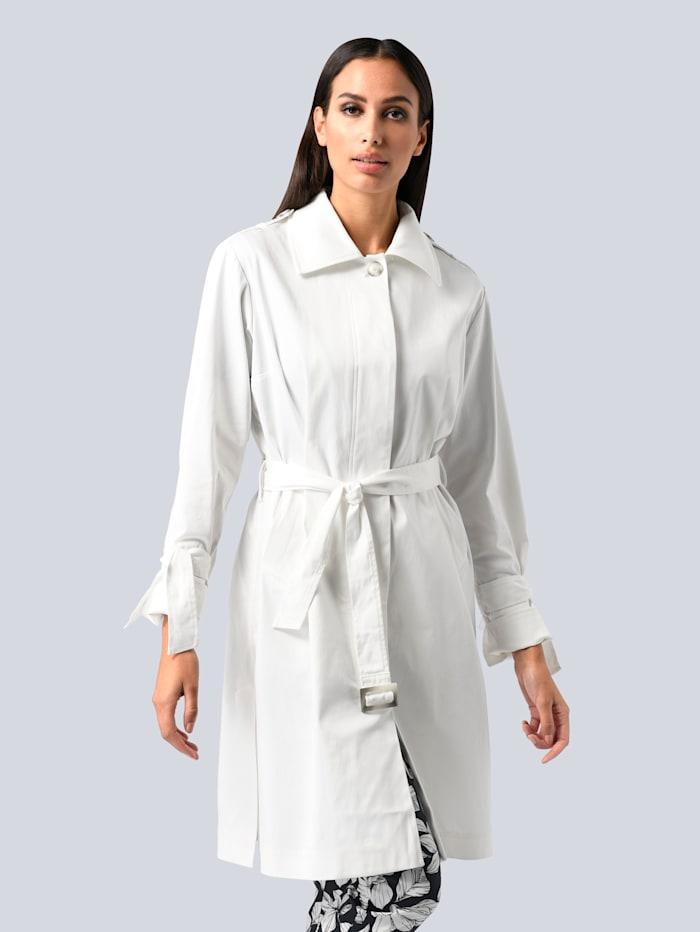 Alba Moda Trenchcoat mit kleinen Schleifen am Ärmel, Off-white