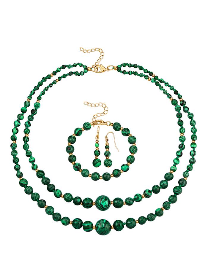 KLiNGEL 3-delige sieradenset van Malachiet, Groen