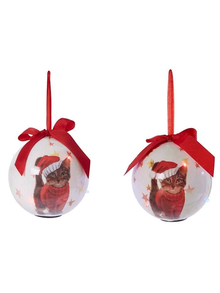 TRI Set van 2 led-kerstballen Katjes, wit/rood