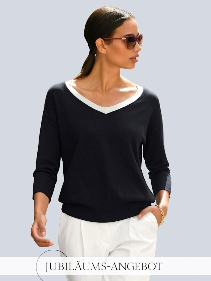 Alba Moda Pullover mit kontrasfarbigem Ausschnitt, Marineblau/Off-white