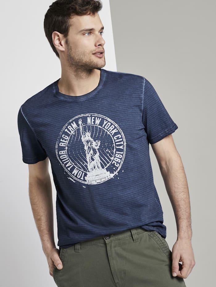 Tom Tailor Gestreiftes T-Shirt mit NYC-Print, Black Iris Blue