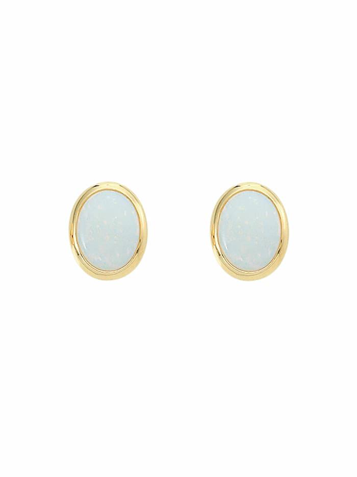 1001 Diamonds 1001 Diamonds Damen Goldschmuck 585 Gold Ohrringe / Ohrstecker mit Opal, blau