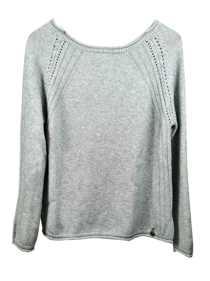 Heimatliebe Pullover mit Lochstickerei, grigio