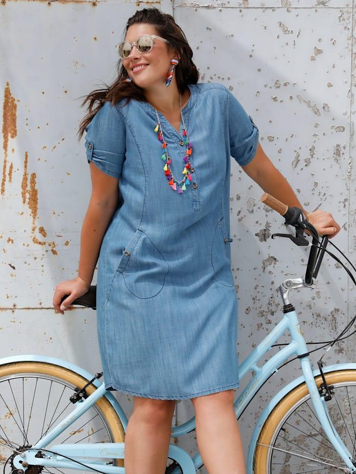 MIAMODA Kleid mit streckendem V-Ausschnitt, Jeansblau
