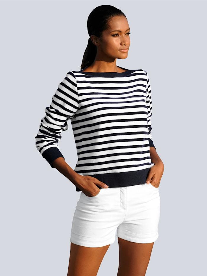 Alba Moda Shirt im Streifenlook, Weiß/Marineblau