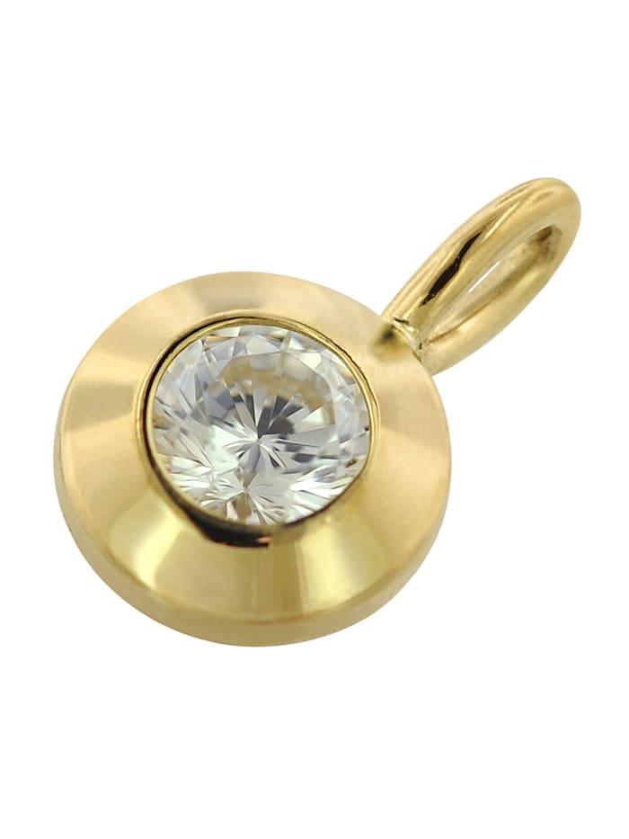 Gold Anhänger mit Zirkonia an goldplattierter Kette