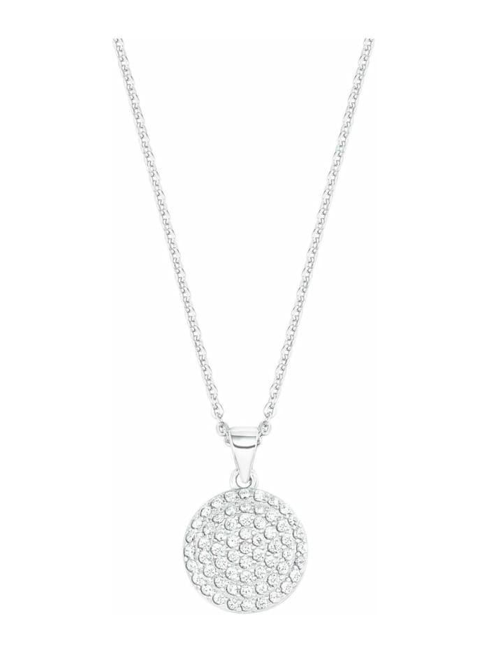 amor Kette mit Anhänger für Damen mit rundem Anhänger, glänzendes Silber 925, Zirkonia, Silber