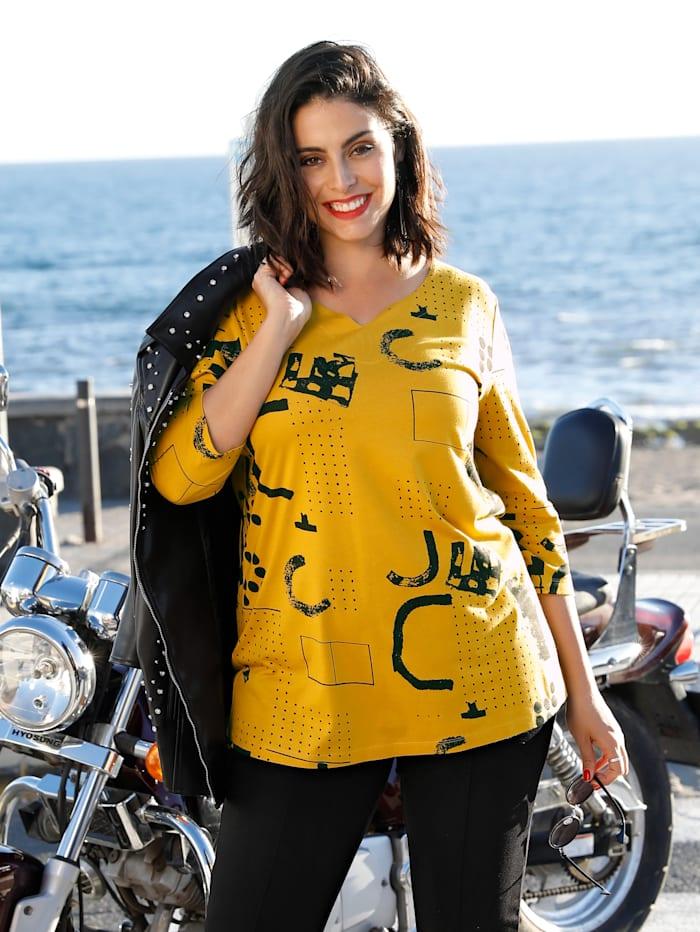 MIAMODA Shirt mit femininem Ausschnitt, Gelb