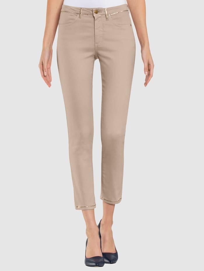 Alba Moda Jeans mit Folienprint, Stein/Goldfarben