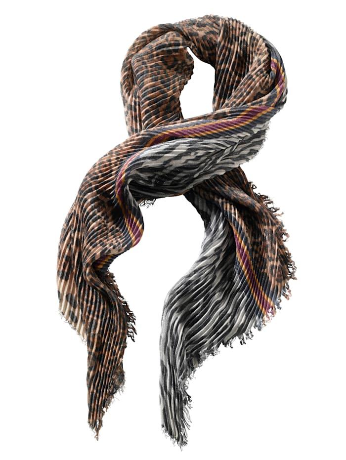 AMY VERMONT Sjaaltje met plissé, Zwart/Camel/Wit