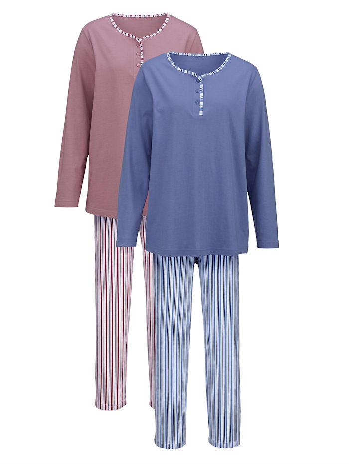 Harmony Pyjama, Rozenhout/Blauw